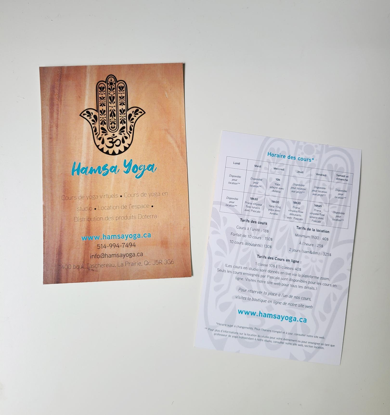 Flyer - carton publicitaire - carton promotionnel Hamsa Yoga