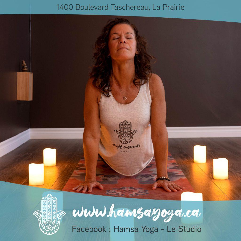 publicité - promotion du studio de yoga Hamsa à LaPrairie