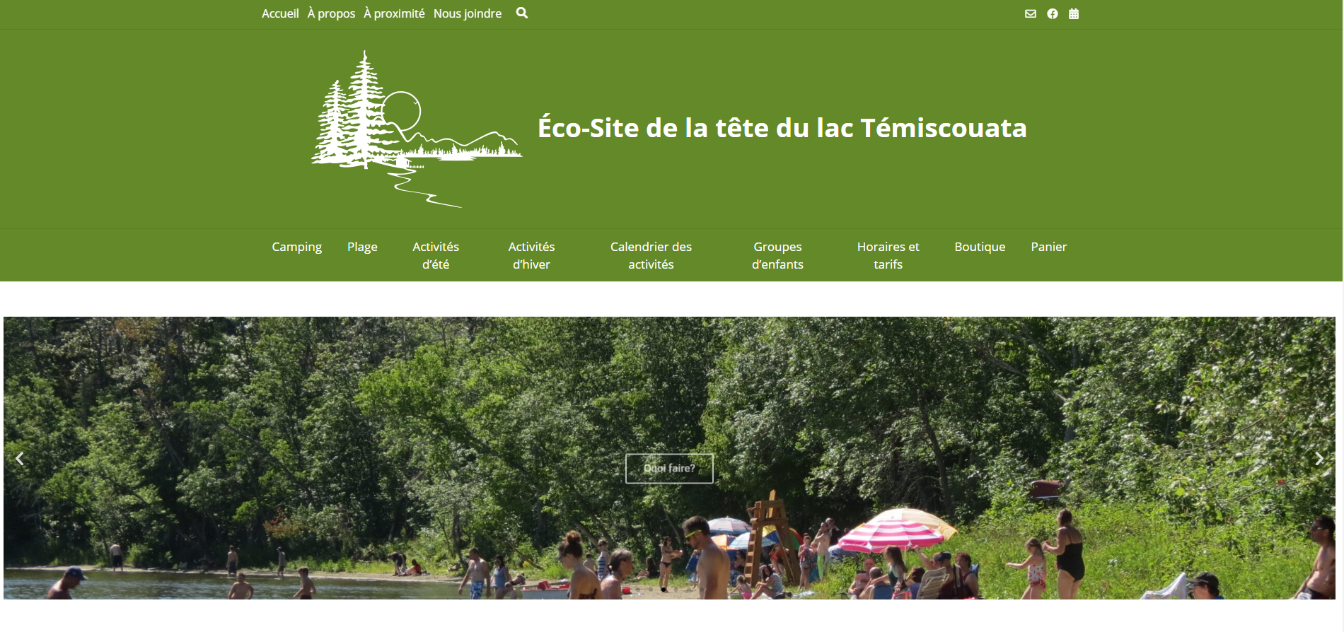 Site web de l'éco-site de la tête du lac témiscouata