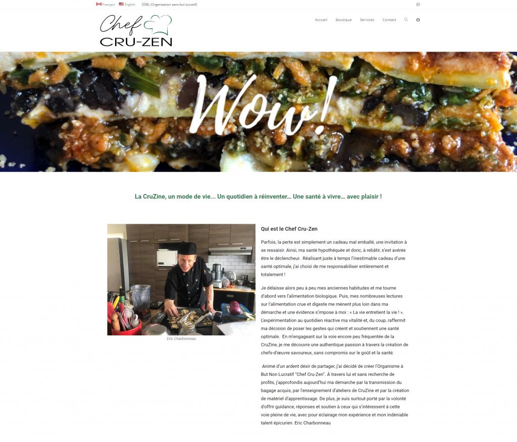création page accueil site web chef cru-zen